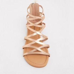 Torrid Rose Gold Gladiator Criss Cross Sandals